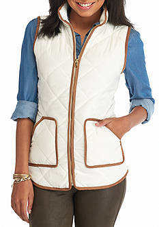 Red Camel Faux Suede Trim Puffer Vest