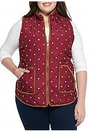 Red Camel® Plus Size Dot Suede Puffer Vest