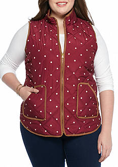 Red Camel Plus Size Dot Suede Puffer Vest