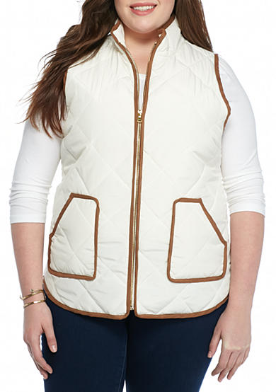 Red Camel® Plus Size Suede Puffer Vest