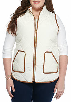 Red Camel Plus Size Suede Puffer Vest