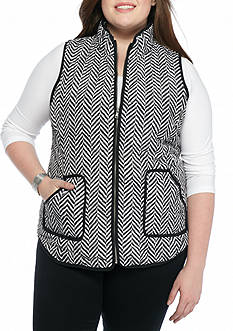 Red Camel Plus Size Herringbone Puffer Vest