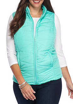 Red Camel Plus Size Solid Puffer Vest