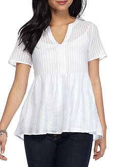Esley Sheer Stripe Babydoll Blouse