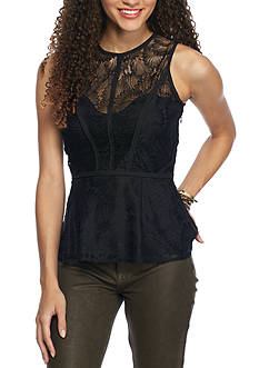 Esley Sleeveless Lace Peplum