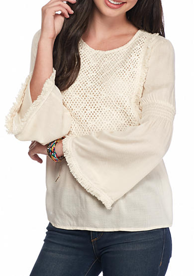 Esley Fray Bib Front Peasant Blouse