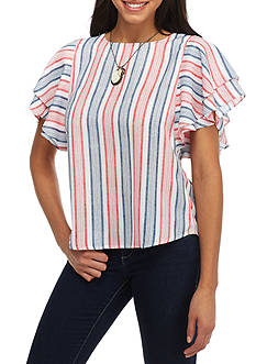 Esley Stripe Short Flutter Sleeve Top