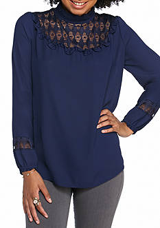 Red Camel Solid High Neck lace Bib Blouse