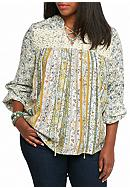 Red Camel® Plus Size Crochet Peasant Top