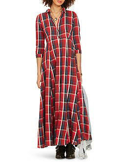 Denim & Supply Ralph Lauren Plaid Button-Front Maxi Dress