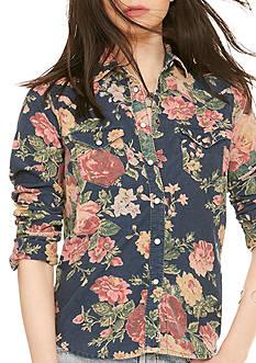 Denim & Supply Ralph Lauren Floral Corduroy Western Shirt