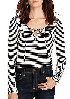 Denim & Supply Ralph Lauren V-Neck Lace-Up Shirt