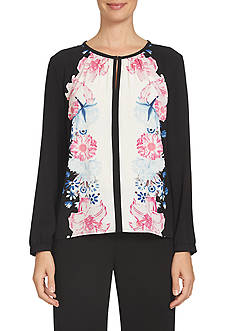 CeCe Long Sleeve Engineer Floral Duet Collarless Blouse