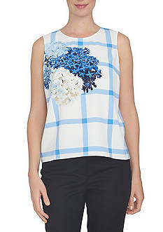 CeCe Sleeveless Trellis Hydrangea Plaid Top