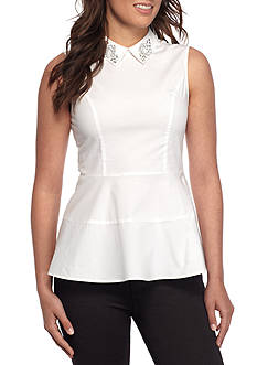 CeCe Sleeveless Embellished Peplum Shell