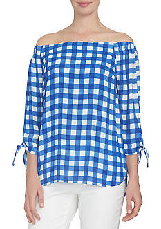 CeCe Off the Shoulder Bow Tie Sleeve Blouse