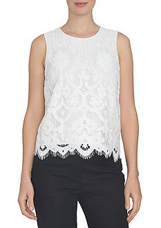 CeCe Sleeveless Floral Lace Back Keyhole Shell