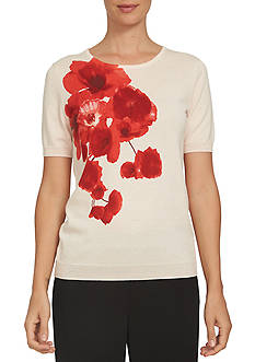 CeCe Short Sleeve Poppy Corsage Sweater