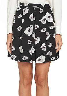 CeCe Floral Jacquard Pleated Skirt
