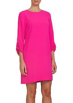 CeCe 3/4 Length Tie Sleeve Moss Crepe Shift Dress