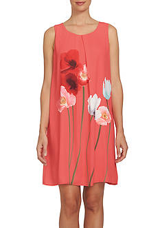 CeCe Wistful Poppies Shift Dress