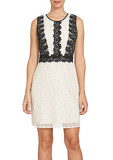 CeCe Colorblock Lace A-Line Dress