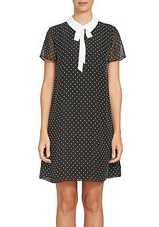 CeCe Short Sleeve Clip Dot Dress