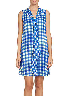 CeCe Sleeveless Garden Check Tie Neck Dress