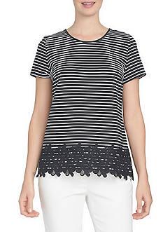 CeCe Short Sleeve Stripe Crew Knit Lace Hem Top