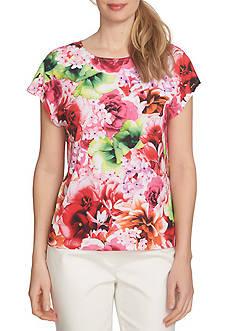 CeCe Short Sleeve Floral Tropics Knit Tee