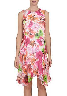 CeCe Sleeveless Floral Tropics Handkerchief Hem Dress