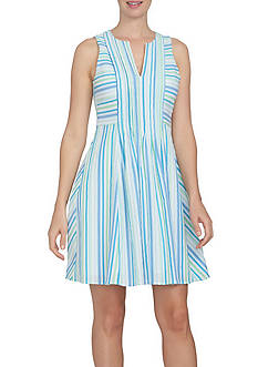 CeCe Sleeveless Stripe Crinkle Gauze Pintuck Dress