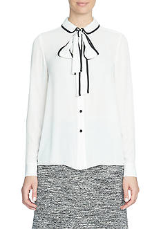 CeCe Tie-Neck Collared Shirt