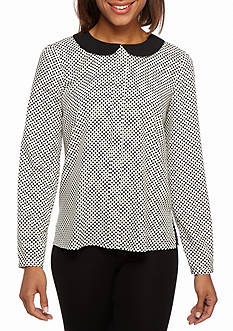 CeCe Mod Polka Dot Collared Blouse
