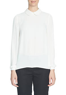 CeCe Long Sleeve Pearl Encrusted Collared Blouse