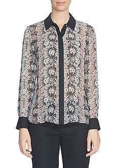 CeCe Long Sleeve Lacescape Button Front Blouse