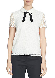 CeCe Short Sleeve Scroll Lace Tie-Neck Collared Blouse