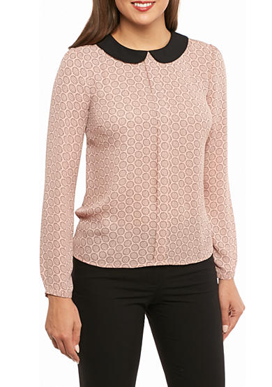 CeCe Collared Floral Blouse