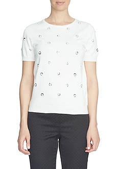CeCe Short Sleeve Pearl Sequin Clusters Embellished Pullover Top