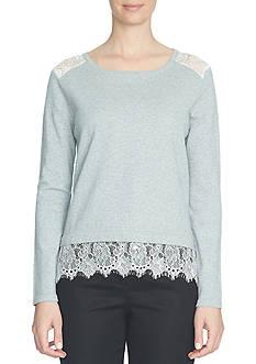 CeCe Long Sleeve Lace Trim Crewneck Pullover