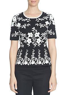CeCe Short Sleeve Engineer Floral Jacquard Peplum Sweater