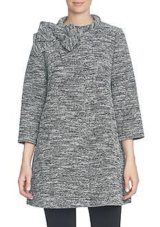 CeCe Stretch Tweed Mock Neck Coat