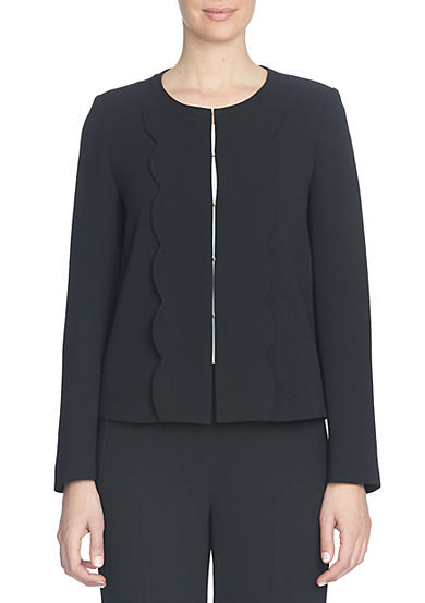 CeCe Scallop Trim Collarless Jacket