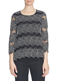 CeCe 3/4 Sleeve Two-Tone Lace Swing Top