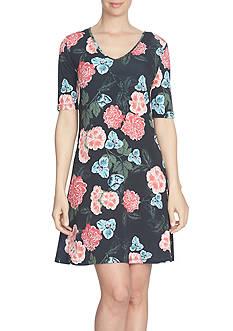 CeCe Floral Memoir Knit Dress