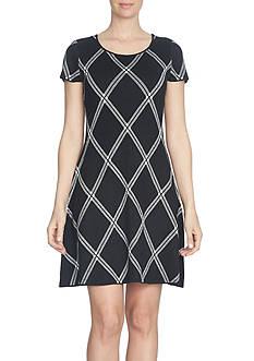 CeCe Plaid Jacquard Sweater Dress