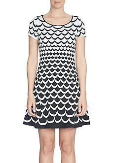 CeCe Short Sleeve Jacquard Scallop Sweater Dress
