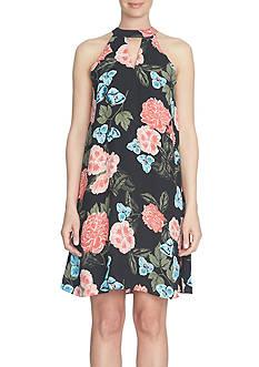 CeCe Floral Memoir Keyhole Halter Dress