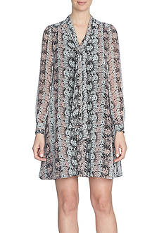 CeCe Long Sleeve Lacescape Tie-Neck Swing Dress