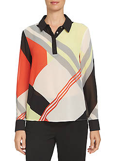 CeCe Deco Graphic Contrasting Placket Blouse